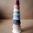 Toronyépítő poharak - pasztell színben - Mushie