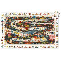 Megfigyeltető puzzle - Állati autóverseny - Car rally Djeco