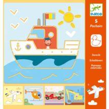 Rajzsablonok - Járművek és társaik - Tranports & co Djeco Design by