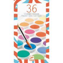 Korongos gouache festék - 36 szín Djeco