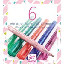 Csillám fílctoll 6 színben - 6 glitter markers - sweet Djeco Design by