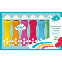 Marok filc 6 színben - Pontozó festés - 6 foam markers Djeco Design by