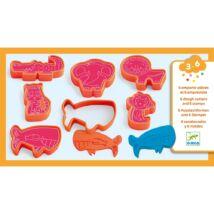 Gyurmaformázó készlet - 6 press moulds and 6 stamps wild animals- DJECO