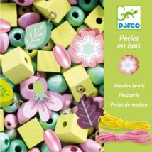 Fa gyöngyök levelekkel és virágokkal - Wooden beads, leaves and flowers- DJECO