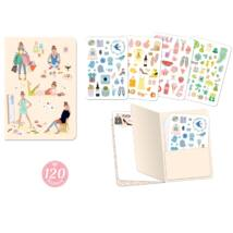 Jegyzetfüzet 120 db matricával - Tinou stickers notebook Djeco Lovely Paper
