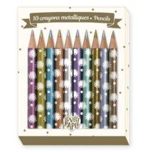 Mini metálszínű ceruza, 10 szín - 10 Chichi mini metalic pencils- DJECO