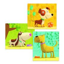 Primo puzzle - Kutyák, 4, 6, 9 db-os - Dogs- DJECO
