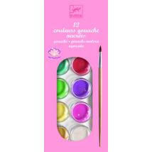 Korongos gouashe festék - 12 színű - 12 color cakes - pearly- DJECO