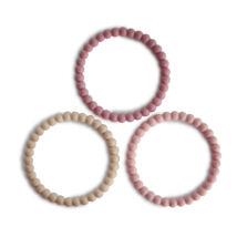 Gyöngy rágóka - Len - bazsarózsa - halvány rózsaszín - Mushie