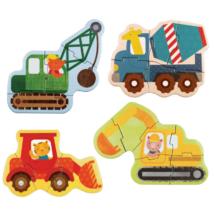 Petit Collage kezdő puzzle – építőipari állatok
