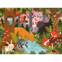 Petit Collage 100% organikus nagy méretű padló puzzle, erdei állatok
