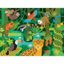 Petit Collage 100% organikus nagy méretű padló puzzle, vadállatok