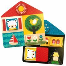 Petit Collage 100% organikus fejlesztő fa kirakós játék, nappal-éjszaka