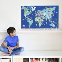 Kreatív, fejlesztő óriásplakát, 200 matricával - Világ zászlói - Poppik
