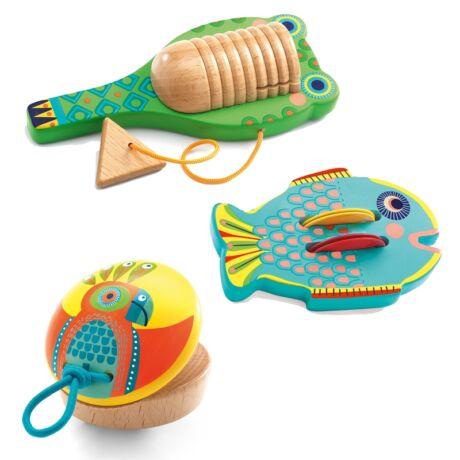 Játékhangszer készlet - Set of 3 percussions: Cymbal-castanet-guiro- DJECO
