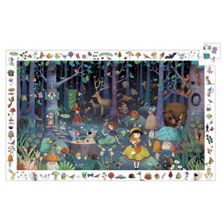 Megfigyeltető puzzle - Elvarázsolt erdő, 100 db-os - Enchanted Forest- DJECO