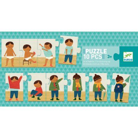 Sorozat puzzle - Felöltöztem - I am dressing up- DJECO