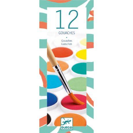 Gouache festék - 12 klasszikus szín -12 couleurs gouache- DJECO