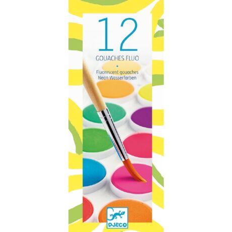 Korongos gouache festék - 12 szín, neon - 12 color cakes - Neon- DJECO