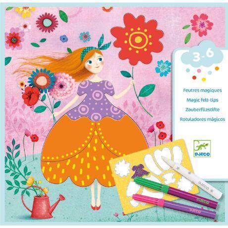 Színezés és mintakészítés varázsfilccel - Marie's pretty dresses- DJECO