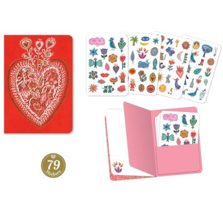 Jegyzetfüzet 79 db matricával - Aurelia stickers notebook Djeco Lovely Paper
