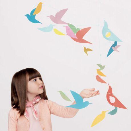 Szélmobil függődísz - Sokszínű Madarak - Mobile Katsumi - Multicolored birds