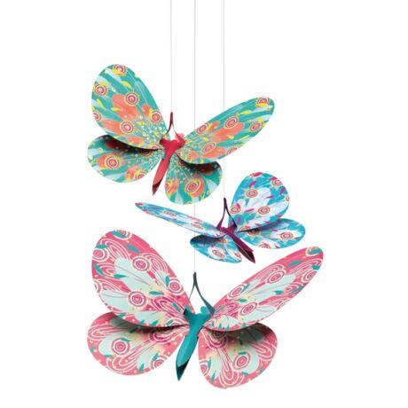 3D-s függödísz - Csillámos pillangók - Glitter butterflies- DJECO