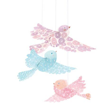 3D-s függödísz - Csillámló madarak - Glitter birds- DJECO