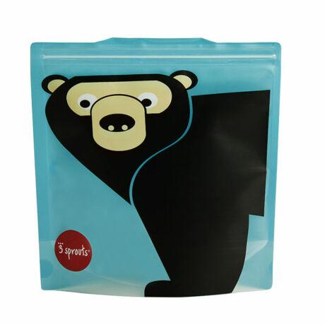 3 Sprouts 2 db-os visszazárható uzsonnás tasak medve