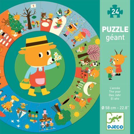 Óriás kör alakú puzzle - Mackó éve - The year Djeco