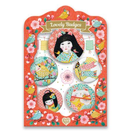 Kitűzők - Japán - lovely badges Djeco Lovely Paper