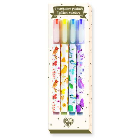 Csillámtoll, 4 szín - 4 Tinou glitter markers- DJECO