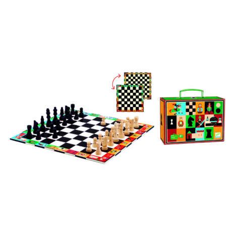 Társasjáték klasszikus - Sakk, Kínai sakk és Dáma - Chess+Checkers- DJECO