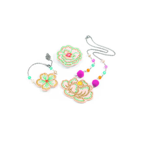Hairbrushes - Embroidered jewels flowers- DJECO
