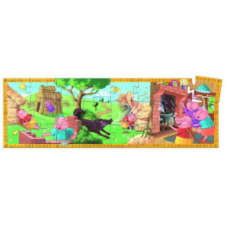 Formadobozos puzzle - A 3 kismalac - The 3 little pigs- DJECO