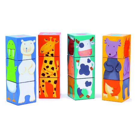 Kockakiarkó - Vidám állatos építő - Colour animals- DJECO