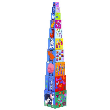 Toronyépítő kocka - Mulatságos építő - 10 funny blocks- DJECO
