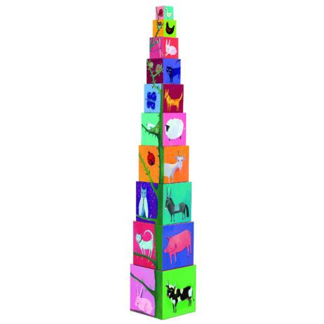 Toronyépítő kocka - Természet és állatok - 10 nature and animal blocks- DJECO
