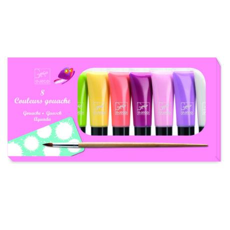 Tubusos gouache festék - Élénk színek - 8 tubes de gouache - Sweet- DJECO