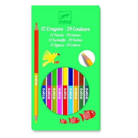 Színes ceruza készlet - 24 szín - 12 double ended pencils, 24 colours- DJECO