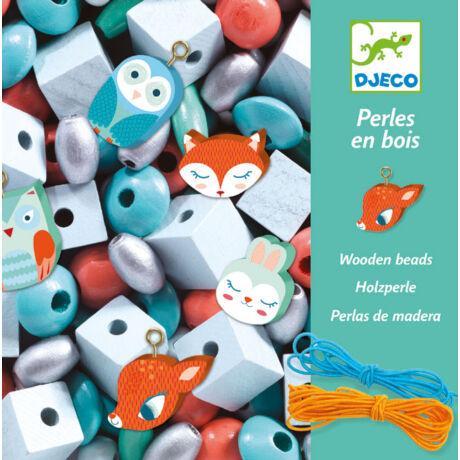 Fa gyöngyök kis állatokkal - Wooden beads, Small animals- DJECO