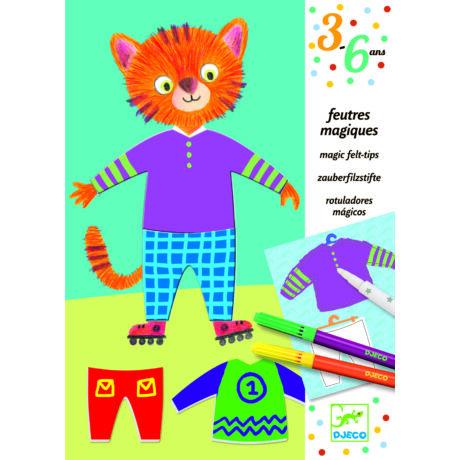 Varázsfilc - 2/1-ben színező, öltöztető - Elliot and Zoe's clothes- DJECO