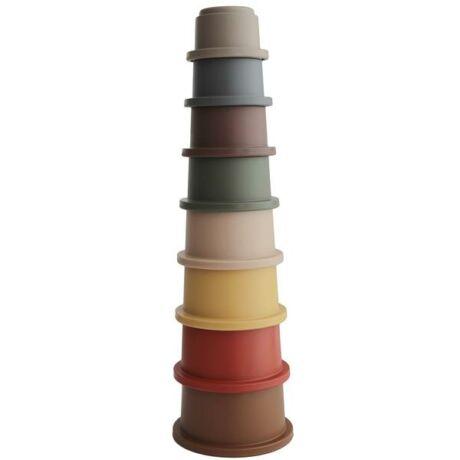 Toronyépítő poharak - retro színben - Mushie