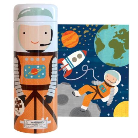 Petit Collage 64 darabos puzzle és persely fémdobozban – űrhajós