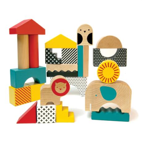 Petit Collage 100% organikus fejlesztő játék, állatváros fa kockákból