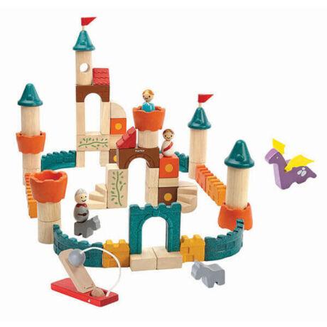 Fantázia kastély építő kockák Plan Toys