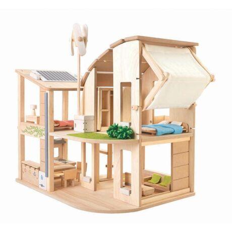 Zöld ház berendezéssel Plan Toys