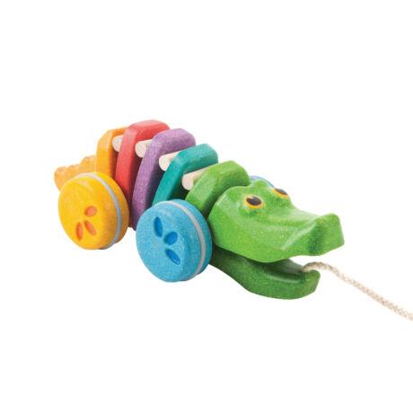 Húzható szivárványos alligátor Plan Toys